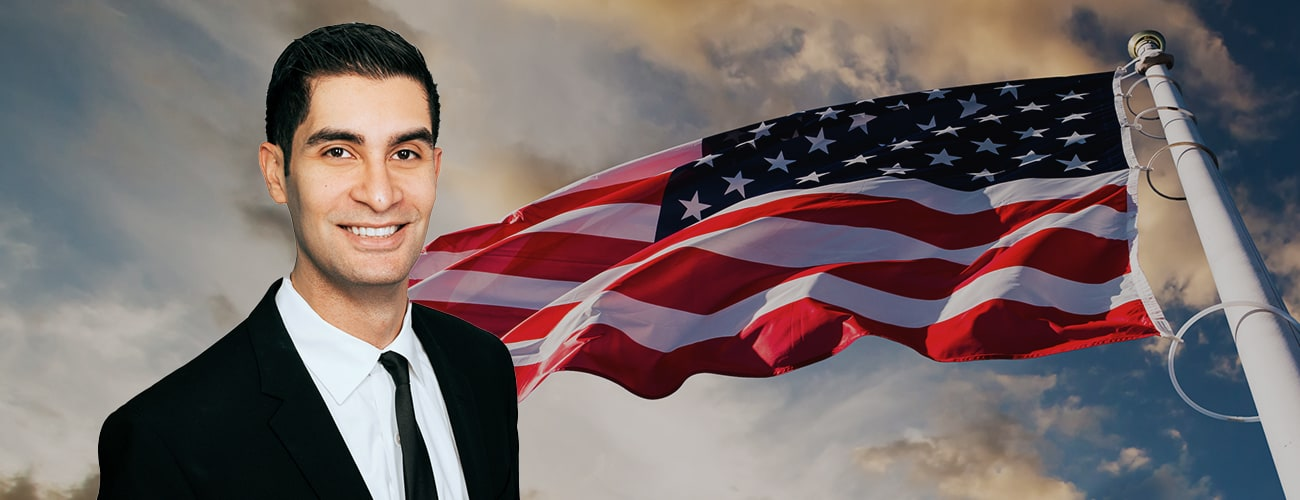 Hero Banner - Armand Jawanmardi profile picture over a US flag photo